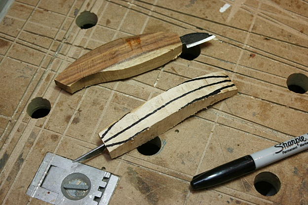 Carving tools knifes from old plane iron